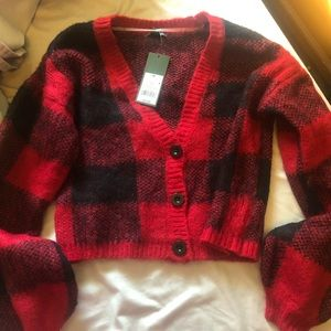 WILD FABLE red and black plaid crop sweater